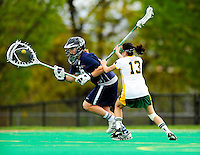 1 May 2010: University of New Hampshire Wildcat goalkeeper Kathleen O'Keefe, a Freshman from Chatham, NJ, in action against the University of Vermont Catamounts at Moulton Winder Field in Burlington, Vermont. The visiting Wildcats defeated the Lady Catamounts 18-10 in the last game of the 2010 regular season. Mandatory Photo Credit: Ed Wolfstein Photo