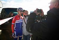 Lars van der Haar (NLD) pleasing the fans<br /> <br /> Vlaamse Duinencross Koksijde 2013