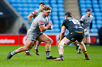 27th March 2021; Ricoh Arena, Coventry, West Midlands, England; English Premiership Rugby, Wasps versus Sale Sharks; Ross Harrison of Sale Sharks takes on Will Rowlands of Wasps