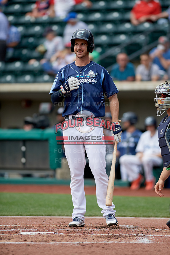 Columbus Clippers right fielder Mike Papi (39) at bat in front of catcher Rob Brantly (8) during a game against the Gwinnett Stripers on May 17, 2018 at Huntington Park in Columbus, Ohio.  Gwinnett defeated Columbus 6-0.  (Mike Janes/Four Seam Images)