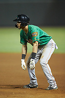 Anderson Tejeda (2) of the Down East Wood Ducks takes his lead off of first base against the Winston-Salem Dash at BB&T Ballpark on May 10, 2019 in Winston-Salem, North Carolina. The Wood Ducks defeated the Dash 9-2. (Brian Westerholt/Four Seam Images)