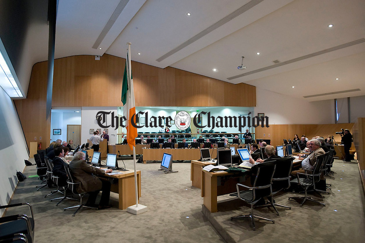 A view of the new County Council chamber during the first meeting held there this week. Photograph by John Kelly.