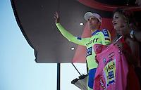 maglia rosa Alberto Contador (ESP/Tinkoff-Saxo) on the podium<br /> <br /> stage 17: Tirano - Lugano (SUI) (134km)<br /> 2015 Giro d'Italia