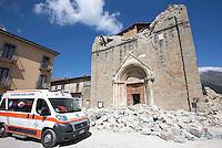 A collapsed church in the village of Amatrice, central Italy, hit by a magnitude 6 earthquake at 3,36 am, 24 August 2016.<br /> Una chiesa crollata dopo il terremoto che alle 3,36 del mattino ha colpito Amatrice, 24 agosto 2016.<br /> UPDATE IMAGES PRESS/Riccardo De Luca
