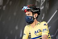 yellow jersey / GC leader Richie Porte (AUS/Ineos Grenadiers) at the final stage team presentation<br /> <br /> 73rd Critérium du Dauphiné 2021 (2.UWT)<br /> Stage 8 (Final) from La Léchère-Les-Bains to Les Gets (147km)<br /> <br /> ©kramon