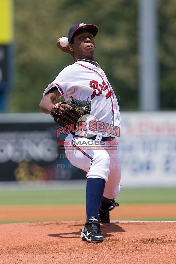 Starting pitcher Carlos Perez #23 of the Rome Braves in action against the Greenville Drive at State Mutual Stadium July 25, 2010, in Rome, Georgia.  Photo by Brian Westerholt / Four Seam Images