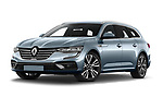 Stock pictures of low aggressive front three quarter view of 2021 Renault Talisman-Grandtour Initiale-Paris 5 Door Wagon Low Aggressive