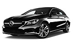 Stock pictures of low aggressive front three quarter view of 2017 Mercedes Benz CLA-Class - 5 Door wagon Low Aggressive