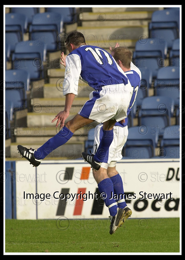 26/10/02       Collect Pic : James Stewart                     .File Name : stewart-qots v ross county 05.DEREK LYLE (10) CELEBRATES WITH JOE MCALPINE AFTER SCORING THE FIRST GOAL...................James Stewart Photo Agency, 19 Carronlea Drive, Falkirk. FK2 8DN      Vat Reg No. 607 6932 25.Office : +44 (0)1324 570906     .Mobile : + 44 (0)7721 416997.Fax     :  +44 (0)1324 570906.E-mail : jim@jspa.co.uk.If you require further information then contact Jim Stewart on any of the numbers above.........