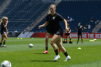 BRIDGEVIEW, IL - JUNE 5: Kealia Watt #2 of the Chicago Red Stars warms up before a game between North Carolina Courage and Chicago Red Stars at SeatGeek Stadium on June 5, 2021 in Bridgeview, Illinois.