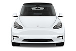 Car photography straight front view of a 2021 Tesla Model-Y Long-Range-AWD 5 Door SUV Front View