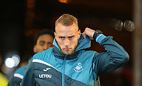 Mike van der Hoorn of Swansea City arrives ahead of the Premier League match between Swansea City and Tottenham Hotspur at the Liberty Stadium, Swansea, Wales on 2 January 2018. Photo by Mark Hawkins / PRiME Media Images.