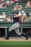 Left fielder Bradley Keller (14) of the Rome Braves bats in a game against the Greenville Drive on Sunday, August 13, 2017, at Fluor Field at the West End in Greenville, South Carolina. Greenville won, 2-1. (Tom Priddy/Four Seam Images)