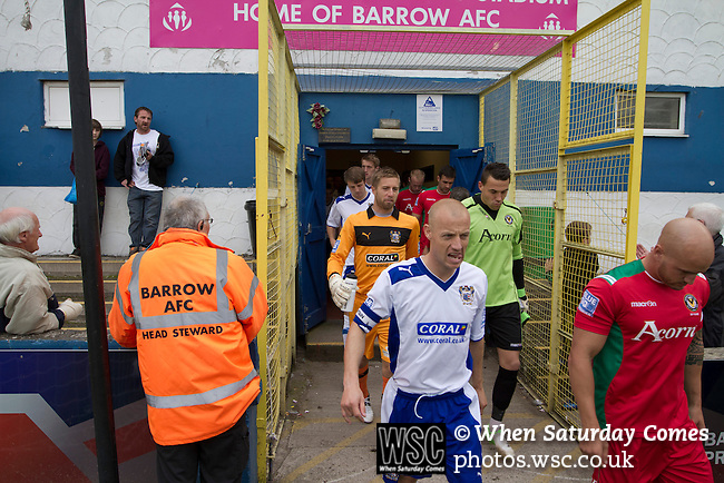 Barrow AFC 0 Newport County 3, 15/09/2012. Furness Building Society Stadium, Football Conference. Home captain Gavin Skelton leading his team from the tunnel at Barrow AFC's Furness Building Society Stadium prior to the delayed kick-off of the Barrow (white shirts) v Newport County Conference National Fixture. Newport County eventually won the match by 3-0, watched by 802 spectators. Both Barrow and Newport County from Wales were former members of the Football League in England. Photo by Colin McPherson.