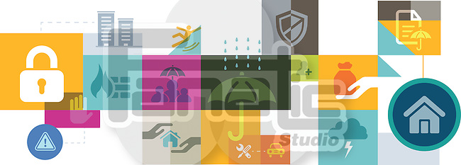 Illustrative collage of various insurances over white background