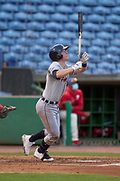 Lakeland Flying Tigers Jimmy Kerr (8) hits a home run during a game against the Clearwater Threshers on May 5, 2021 at BayCare Ballpark in Clearwater, Florida.  (Mike Janes/Four Seam Images)