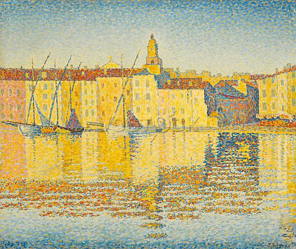 Signac, Paul (1863-1935), Maisons du Port, Saint-Tropez, Oil on canvas, 46,5x55,3, Postimpressionism, 1892, France, Private Collection.