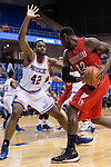 Texas-Arlington Mavericks forward Deon Rodgers (42) and Seattle Redhawks forward Clarence Trent (12) in action during the game between the Seattle Redhawks and the Texas Arlington Mavericks at the College Park Center arena in Arlington, Texas. Seattle defeats Arlington 61 to 44....
