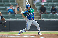 Chris Hudgins (15) of the Lexington Legends at bat against the Kannapolis Intimidators at Kannapolis Intimidators Stadium on August 4, 2019 in Kannapolis, North Carolina. The Legends defeated the Intimidators 5-1. (Brian Westerholt/Four Seam Images)