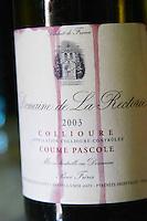 Cuvee Coume Pascole. Domaine de la Rectorie. Roussillon. France. Europe. Bottle.