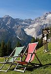 Italy, South Tyrol, Alto Adige, Dolomites, Moso: hiking region Prati di Croda Rossa, 2 deck chairs and Lastron dei Scarperi and Punta Lavina Bianca mountains