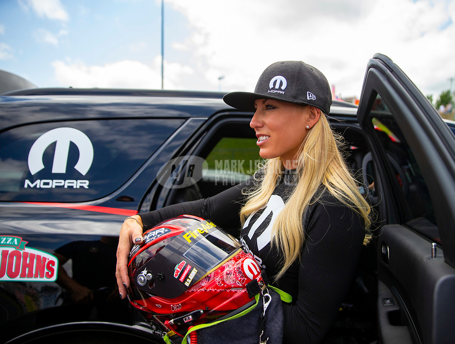 May 19, 2018; Topeka, KS, USA; NHRA top fuel driver Leah Pritchett during qualifying for the Heartland Nationals at Heartland Motorsports Park. Mandatory Credit: Mark J. Rebilas-USA TODAY Sports