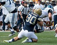 Pitt linebacker Mike Caprara sacks the quarterback. The Pitt Panthers defeated the Villanova Wildcats 28-7 at Heinz Field, Pittsburgh, Pennsylvania on September 3, 2016.