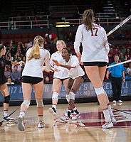 STANFORD, CA - December 1, 2017: Tami Alade, Jenna Gray, Kathryn Plummer, Merete Lutz at Maples Pavilion. The Stanford Cardinal defeated the CSU Bakersfield Roadrunners 3-0 in the first round of the NCAA tournament.