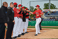 Batavia Muckdogs Nic Ready (5) during introductions before a NY-Penn League game against the Auburn Doubledays on June 14, 2019 at Dwyer Stadium in Batavia, New York.  Batavia defeated 2-0.  (Mike Janes/Four Seam Images)