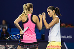 Raluca Olaru of Romania (R) and Olga Savchuk of Ukraine (L) celebrate winning a point during the doubles Round Robin match of the WTA Elite Trophy Zhuhai 2017 against Ying-Ying Duan and Xinyun Han of China at Hengqin Tennis Center on November  02, 2017 in Zhuhai, China.Photo by Yu Chun Christopher Wong / Power Sport Images