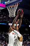 Real Madrid's Trey Thompkins and Real Madrid's Gustavo Ayon during Liga Endesa match between Real Madrid and FC Barcelona Lassa at Wizink Center in Madrid, Spain. March 24, 2019.  (ALTERPHOTOS/Alconada)