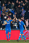 Angel Luis Rodriguez Diaz of Getafe CF (L) celebrates after scoring his goal with Francisco Portillo Soler of Getafe CF (R) during the La Liga 2017-18 match between Getafe CF and Athletic Club at Coliseum Alfonso Perez on 19 January 2018 in Madrid, Spain. Photo by Diego Gonzalez / Power Sport Images