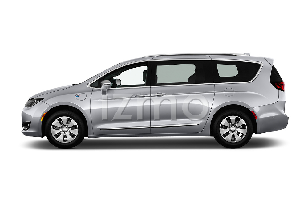 Car driver side profile view of a 2019 Chrysler Pacific Hybrid Limited 5 Door Mini Van