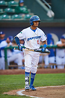 Jeremy Arocho (8) of the Ogden Raptors bats against the Great Falls Voyagers at Lindquist Field on August 22, 2018 in Ogden, Utah. Great Falls defeated Ogden 3-1. (Stephen Smith/Four Seam Images)