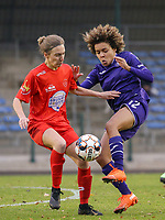 Selina Gijsbrechts (11 Woluwe) and Kassandra Missipo (12 Anderlecht) battle for the ball during a female soccer game between FC Femina WS Woluwe and RSC Anderlecht Women on the eight match day of the 2020 - 2021 season of Belgian Women's Super League , Sunday 22nd of November 2020  in Woluwe, Belgium . PHOTO SPORTPIX.BE | SPP | SEVIL OKTEM