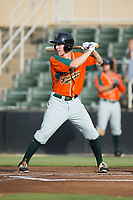 Brian Miller (26) of the Greensboro Grasshoppers at bat against the Kannapolis Intimidators at Kannapolis Intimidators Stadium on August 13, 2017 in Kannapolis, North Carolina.  The Grasshoppers defeated the Intimidators 3-0.  (Brian Westerholt/Four Seam Images)