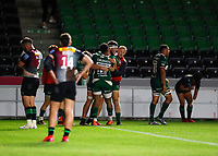 9th September 2020; Twickenham Stoop, London, England; Gallagher Premiership Rugby, London Irish versus Harlequins; Dino Lamb of Harlequins celebrates his try