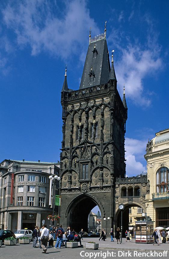 Pulverturm und Repraesentationshaus (Obecni Dum), Prag, Tschechien, Unesco-Weltkulturerbe.