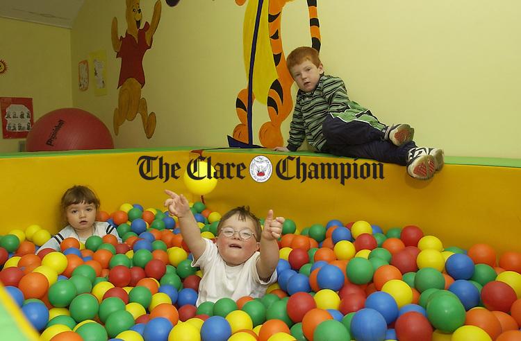Stephen O Halloran, Sarah Lea Boylan and Shane Kinnane playing in the ball pool at St. Michael's Preschool in Ennis. Photograph by John Kelly.