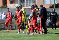 TUNJA - COLOMBIA, 30-01-2021: Jugadores de Patriotas Boyaca F. C. celebran el gol anotado a Boyaca Chico F. C. durante partido de la fecha 3 entre Patriotas Boyaca F. C. y Boyaca Chico F. C. por la Liga BetPlay DIMAYOR I 2021, jugado en el estadio La Independencia de la ciudad de Tunja. / Players of Patriotas Boyaca F. C. celebrate the scored goal to Boyaca Chico F. C. during a match of the 3rd date between Patriotas Boyaca F. C. and Boyaca Chico F. C. for the BetPlay DIMAYOR I 2021 League played at the La Independencia stadium in Tunja city. / Photo: VizzorImage / Macgiver Baron / Cont.