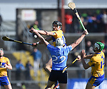 John Conlan of Clare in action against Domhnall Fox of Dublin during their National Hurling League game at Cusack Park. Photograph by John Kelly.