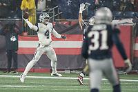 FOXBOROUGH, MA - NOVEMBER 24: Dallas Cowboys Quarterback Dak Prescott #4 during a game between Dallas Cowboys and New England Patriots at Gillettes on November 24, 2019 in Foxborough, Massachusetts.