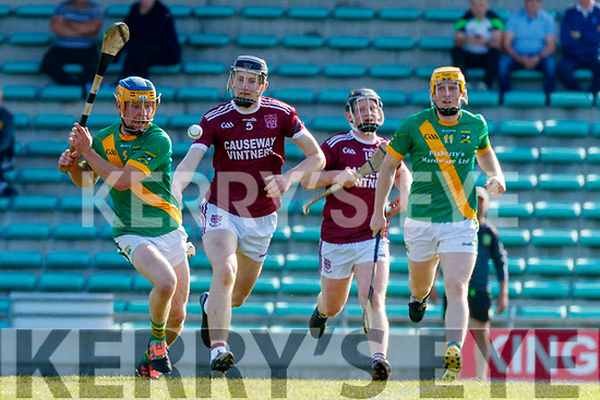 Paudie O'Connor, Kilmoyley in action against Evan Murphy, Causeway during the Kerry County Senior Hurling Championship Final match between Kilmoyley and Causeway at Austin Stack Park in Tralee