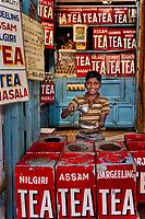 Boy in teashop in Varanasi, Uttar Pradesh, India