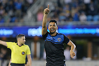 SAN JOSE, CA - AUGUST 24: Andres Rios #25 celebrates scoring during a Major League Soccer (MLS) match between the San Jose Earthquakes and the Vancouver Whitecaps FC  on August 24, 2019 at Avaya Stadium in San Jose, California.