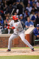 April 16, 2008:  Cincinnati Reds infielder Brandon Phillips (4) at bat against the Chicago Cubs at Wrigley Field in Chicago, IL. Photo by: Chris Proctor/Four Seam Images