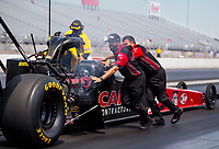 Aug 9, 2020; Clermont, Indiana, USA; Dom Lagana, crew member for NHRA top fuel driver Billy Torrence during the Indy Nationals at Lucas Oil Raceway. Mandatory Credit: Mark J. Rebilas-USA TODAY Sports