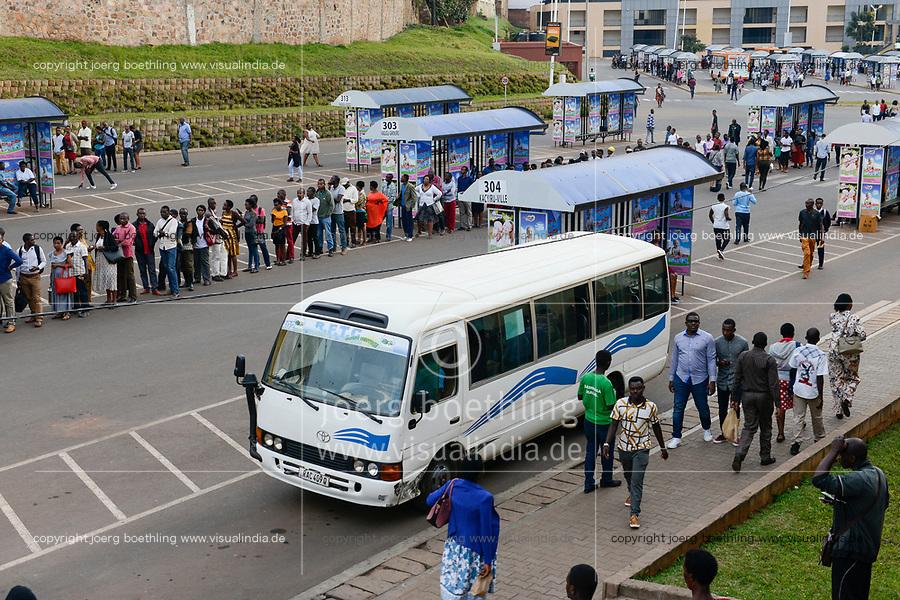 RUANDA, Kigali, downtown, bus terminus built by chenes company / Busbahnhof, gebaut von China