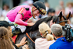 May 18, 2019 : Jockey Tyler Gaffalione and connections give War of Will #1 some love after he won the Preakness Stakes on Preakness Day at Pimlico Race Course in Baltimore, Maryland. Carlos Calo/Eclipse Sportswire/CSM