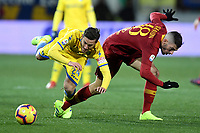 Francesco Cassata of Frosinone and Davide Santon of AS Roma compete for the ball during the Serie A 2018/2019 football match between Frosinone and AS Roma at stadio Benito Stirpe, Frosinone, February 23, 2018 <br />  Foto Andrea Staccioli / Insidefoto